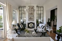 Black and White, Stripes, and Chinese Chippendale Chairs via Apartment 312