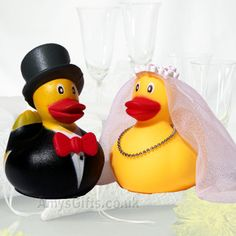 cute bride and groom rubber ducks