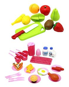 ZERBO PRETEND Pretend Food Toy Play Set Mini Kitchen Serving Meal Set with Chopping and Cutting Fruit Toys -- Learn more by visiting the image link.