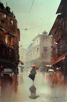dusan-djukaric-the-rain-bathed-streets-watercolor-36x54-cm