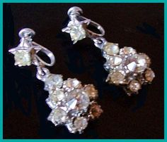 Art Deco Rhinestone Earrings Screw Back by BrightgemsTreasures, $12.50