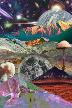 Discovered by c. Find images and videos about moon, psychedelic and wallpaper on We Heart It - the app to get lost in what you love. Psychedelic Art, Psychedelic Experience, Images Pop Art, Psy Art, Photocollage, Jolie Photo, Art Graphique, Surreal Art, Oeuvre D'art