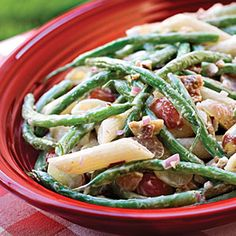 Green Bean, Grape and Pasta @ Southern Living Prep: 25 min., Bake: 7 min., Cook: 12 min., Chill: 3 hr. If you're a broccoli salad fan, you'll love the combination of these colorful ingredients. Cook the pasta al dente, so it's firm enough to hold its own when tossed with the tangy-sweet salad dressing.