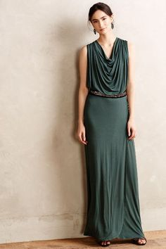 Draped Emerald Maxi Dress - anthropologie.com (I like the fitted style of the hip area)