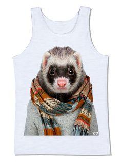 ferret furão camiseta cachecol pet animal de estimação