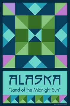 Olde America Antiques | Quilt Blocks | National Parks | Bozeman Montana : 50 STATE QUILT BLOCK SERIES - ALASKA - version 2