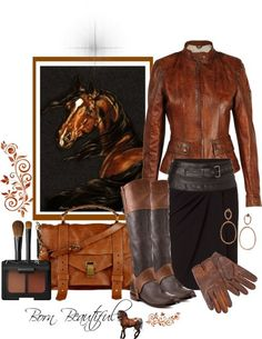 Leather equestrian style-love the bag and the jacket!