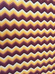 Handmade Chevron ZigZag  V pattern Crochet Afghan Throw Blanket Brown Yellow #handmade