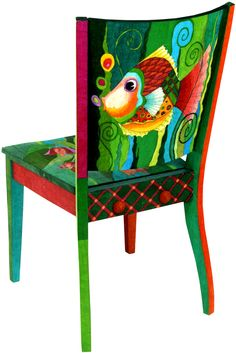 Painted Chair solid back fish