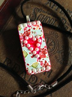 """Upcycled Alcohol Inked Domino """"Heart, Faux Pearls and Flower"""" Pendant by CraftyColettes, on Etsy"""