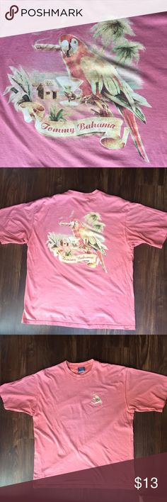 Tommy Bahama Happy Hour Cigar Pink Casual T Shirt Preloved Conditions-faded/wash wear (can see in photos). Size Large, Tommy Bahama Casual T-Shirt. Parrot smoking a cigarette. Tommy Bahama Shirts Tees - Short Sleeve