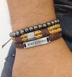 Kit pulseiras masculinas mens bracelets couro leather shamballa macrame fashion style estilo rua