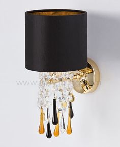 Aiardini wall light, Glamour.   Polished gold frame with cylindrical fabric shade and Swarovski crystal glass chains and Venetian glass drops.   123-AP-1L