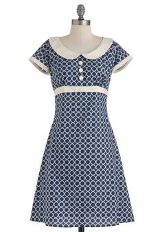 Encircled in Sweetness Dress. Surround yourself in the charming, white circle print of this delightful blue dress! #blue #modcloth