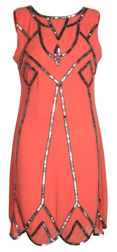 Coral deco dress