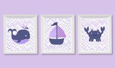 Purple and Navy Nursery Art Nautical Nursery Chevron Ocean Decor Whale Sailboat Crab Lavender and Navy Girl's Room Decor 8 x 10 or 11 x 14