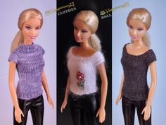 Barbie doll in 3 different hand knitted top