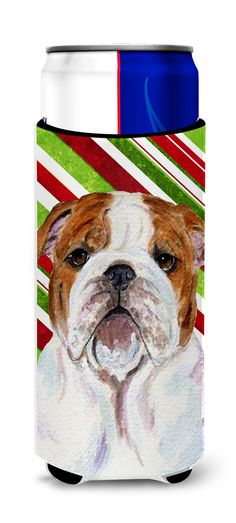 Bulldog English Candy Cane Holiday Christmas Ultra Beverage Insulators for slim cans SS4553MUK