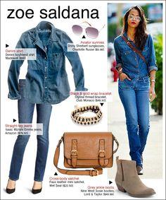 Zoe Saldana aviator sunglasses, denim shirt, straight-leg jeans, cross body satchel and grey ankle boots