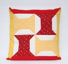 Red and Yellow Vintage  Spools Patchwork by TheMixingBowlOnline, $16.00