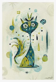 Watercolor cat, gray blue with stars