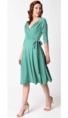 Unique Vintage 1940s Style Green & White Dotted Kelsie Wrap Dress