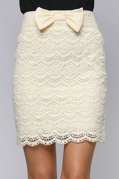 cream lace pencil skirt.