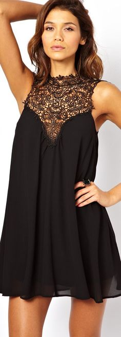 TFNC Swing Dress With Lace High Neck #black #mini #dress <3