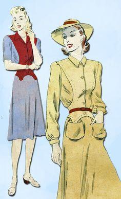 1940s Vintage Vogue Sewing Pattern 8755 WWII Misses Lindy Hop Dress Size 16 34B