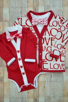Big and Little Brother or Sister Valentine's Day Cardigan Onesie and Cardigan Set with Interchangeable Tie Shirts and Bow Ties