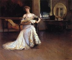 Edmund C. Tarbell (American 1862–1938) [Impressionism, Portrait, The Ten] Quiet Afternoon  (The Rehearsal), 1904. Private Collection. – The Athenaeum