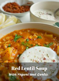 Red Lentil and Potato Soup Recipe with Yogurt and Garlic. This satisfying and healthy soup is a Turkish favorite with a twist. A Food, Good Food, Food And Drink, Yummy Food, Delicious Recipes, Amazing Recipes, Lentil Soup Recipes, Red Lentil Soup, Chili Recipes