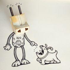 ROBOPLUG D20 meets Burki! =)   Toons in Real World - By: @maniknratan   #toonsinrealworld