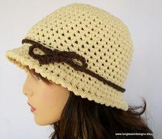 Crochet  Pattern Double the Fun Cloche-Fedora Hat for Women and Teens permission to sell finished product. $4.99, via Etsy.