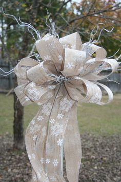 Christmas Tree Topper Ribbon Topper Bow Topper by 3frenchhensnet, $22.00