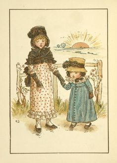 Image Title: [Two girls holdings hands.]1894 Creator: Greenaway, Kate, 1846-1901 -- Artist Source: Almanack for .... / Kate Greenaway's almanack for 1895.