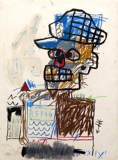 "Jean-Michel Basquiat drawing : work from the Schorr family collection. ""The first book on the drawings and works on paper of this legendary cult artist."" Can be found in the Margaret M. Jean Basquiat, Jean Michel Basquiat Art, Basquiat Artist, Robert Rauschenberg, Keith Haring, Andy Warhol, Pablo Picasso, Radiant Child, Arte Punk"