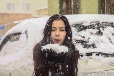 mongolian beautiful fashion girl in Mongolian winter