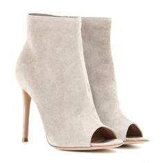 Gianvito Rossi Open-Toe Suede Ankle Boots ($765) ❤ liked on Polyvore featuring shoes, boots, ankle booties, booties, ankle boots, heels, grey, suede booties, gray ankle boots and heeled booties