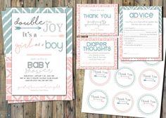 Gemelos bebé ducha imprimible Kit - Boy & Girl-invitación, gracias y más