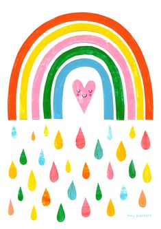The Rain Gives You The Rainbow Art Print by amywalters Baby Boy Scrapbook, Rainbow Wallpaper, Rainbow Aesthetic, Rainbow Print, Print Wallpaper, Pretty Art, Cute Illustration, Cute Stickers, Cute Drawings