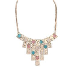 European And American Punk Retro Exaggerated Geometric Opal Necklace