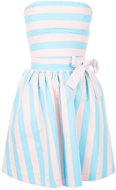 blue and white striped Bandeau Dress with preppy bow detail -couldn't be more perfect for spring!