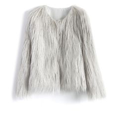 Chicwish My Chic Faux Fur Coat in Silver ($68) ❤ liked on Polyvore featuring outerwear, coats, jackets, fur, abrigo, grey, fake fur coats, collarless coat, imitation fur coats and grey faux fur coat