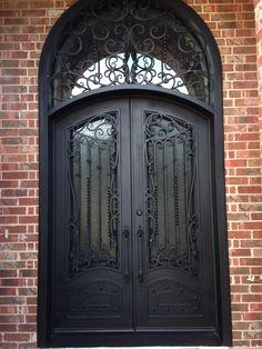 Love That Door is the premier hand-forged wrought iron door manufacturer and distributor in Texas. Iron Front Door, Black Front Doors, Wrought Iron Doors, Door Ideas, House Plans, Entryway, Metal, Collection, Design