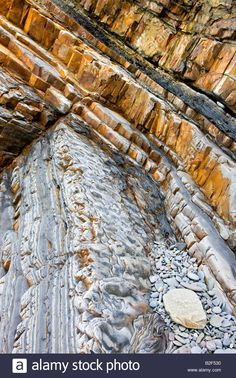 Geological rock strata at Sandymouth Bay in North Cornwall England Stock Photo