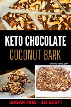 If there is anything more comforting than rich nutty chocolate, I don't know what it is. This Keto Chocolate Coconut Bark with coconut and pecans is so easy to make.  Sugar-free desserts don't get any better than this!  #chocolatebark #sugarfree #ketochocolate #desserts Easy No Bake Desserts, Sugar Free Desserts, Low Carb Desserts, Low Carb Recipes, Delicious Desserts, Dessert Recipes, Dried Strawberries, On The Go Snacks, Chocolate Bark