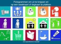 Pictogrammen | Free printable reward charts / Klik en print kaarten voor kinderen zoals beloningskaarten dagritmekaarten aftelkalenders zakgeldlijsten pictogrammen.