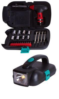 Práctico set de herramientas con asa y linterna. Ideal para trabajos de fontanería o ebanistería. Atención a su precio.   .