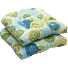 Add plush comfort to your dining room, patio, or porch with this UV-protected seat cushion Product: Set of 2 seat cushions  Construction Material: 100% Polyester cover and fill   Color: Blue and green Features: Water, fade and mildew resistant Dimensions: 5 H x 19 W x 19 D Cleaning and Care: Spot clean Shipping: This item ships small parcelExpected Arrival Date: Between 04/18/2013 and 04/26/2013Return Policy: This item is final sale and cannot be returned